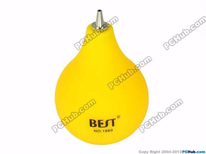 76589- 1889. Metal nozzle rubber ball. Yellow
