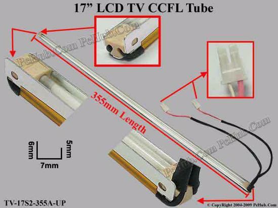 Length: 355mm, Side Height: 6/5mm, TV-17S2-355A-UP