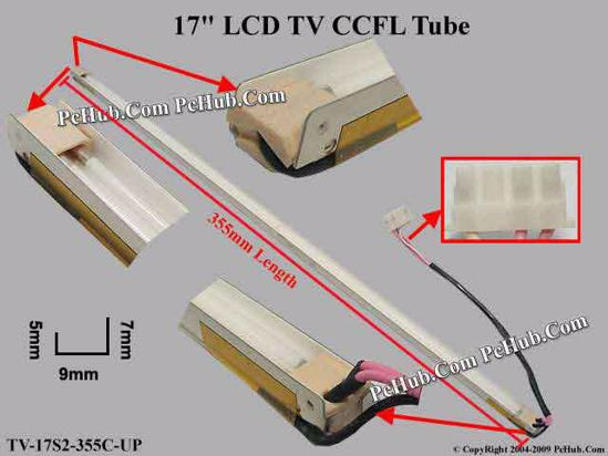 Length: 355mm, Side Height: 9/5mm, TV-17S2-355C-UP