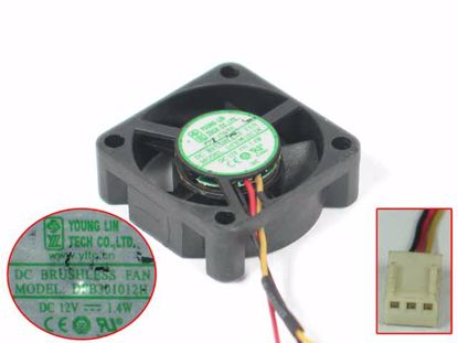 Young Lin DFB301012H Server - Square Fan sq30x30x10mm, 3-wire, DC 12V 1.4W