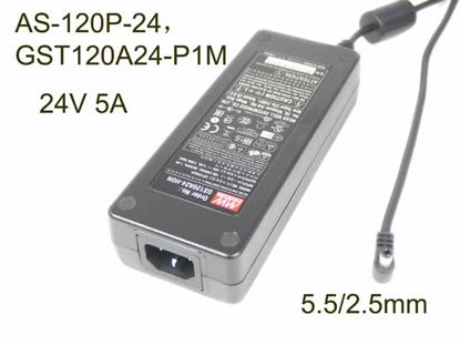 Mean Well AS-120P-24,GST120A24-P1M,  GS120A24, AC Adapter 20V & Above 24V 5A, 5.5/2.5mm, C14