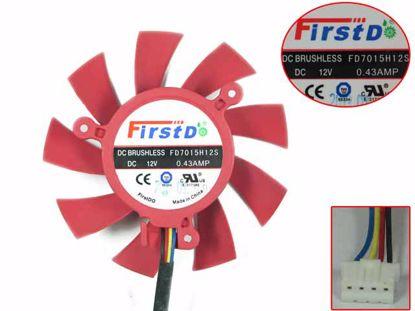 Firstd FD7015H12S Server - Frameless / GPU Fan 12V 0.43A, W60x4x4, D65 C39, Red