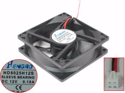 HENGRD HD8025H12S Server - Square Fan HD8025H12S, DC 12V 0.18A