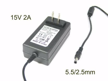 Picture of PCH OEM Power AC Adapter- Laptop 15V 2A, 5.5/2.5mm, US 2P