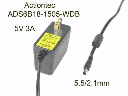 Picture of Actiontec ADS6B18-1505-WDB AC Adapter 5V-12V 5V 3A, 5.5/2.1mm, US 2P Plug