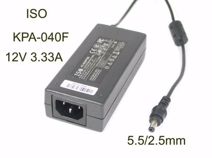 Picture of ISO KPA-040F AC Adapter 5V-12V 12V 3.33A, 5.5/2.5mm, C14, New