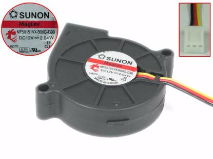 Picture of SUNON MF50151VX-B00C-G99 Server - Blower Fan bw50x50x15, 3w, DC 12V 2.04W