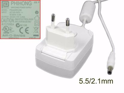 Picture of PHIHONG PSAA20R-240 AC Adapter 20V & Above 24V 0.83A, 5.5/2.1mm, EU 2P