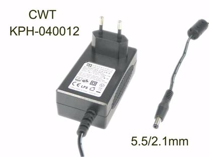 Picture of CWT / Channel Well Technology KPH-040012 AC Adapter- Laptop 12V 3.33A, Barrel 5.5/2.1mm, EU 2-Pin Plug