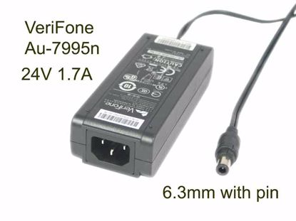 Picture of VeriFone Au-7995n AC Adapter 13V-24V, P/N:CPS05792-3C-R, Au-7995n,24V 1.7A, Round Connector With Pin, IEC C14, NEW