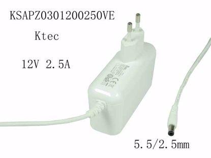 """Picture of Ktec  KSAPZ0301200250VE AC Adapter 5V-12V 12V 2.5A, 5.5/2.5mm, EU 2P Plug, New, """"White"""""""
