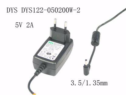 Picture of DYS DYS122-050200W-2 AC Adapter 5V-12V 5V 2A, 3.5/1.35mm, EU 2-Pin Plug