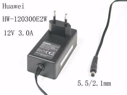Picture of Huawei HW-120300E2W AC Adapter 5V-12V 12V 3.0A, Barrel 5.5/2.1mm, EU 2-Pin Plug