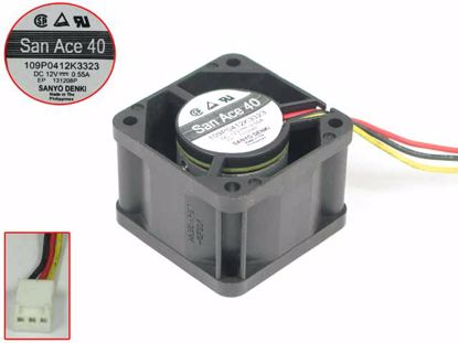 Picture of Sanyo 109P0412K3323 Server - Square Fan DC 12V 0.55A, 3-Wire, 40x40x28mm