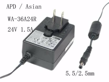 Picture of APD / Asian Power Devices WA-36A24R 24V 1.5A, Barrel 5.5/2.5mm, US 2-Pin Plug, NEW