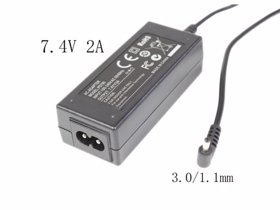 Picture of PCH OEM Power AC Adapter 5V-12V 7.4V 2A, 3.0/1.1mm, 2-Prong, New