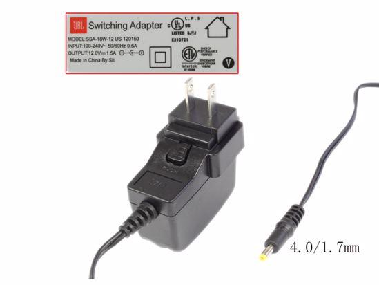 Picture of Other Brands JBL AC Adapter 5V-12V 12V 1.5A, 4.0/1.7mm, US 2P Plug, New