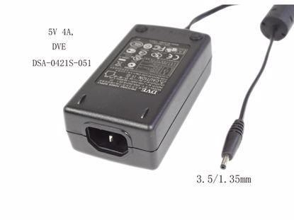 Picture of DVE DSA-0421S-051 AC Adapter - NEW Original 5V 4A, 3.5/1.35mm, C14, New